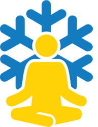 Person meditating in front of a snowflake.